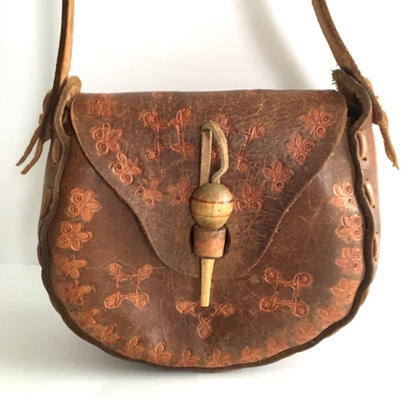 Vintage Hand Tooled Leather Classic Boho Chic Bag